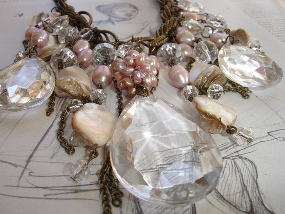 KALLISTO - Cascade of Vintage Crystals Bib Necklace, Freshwater Pearls, Antique Silver, Bold, Dramatic, Made to Order, Bridal, Wedding