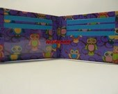 handmade duct tape wallet purple with owls all over it