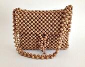 Vintage Handbag Natural Brown Wooden Beads