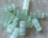 Vintage Glass BEADS lime GREEN satin GERMAN tubes 40's 10mm