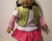 """Doll Clothes fits 18"""" American Girl Hot Ruffle Skirt, Stripe Leggings, T-Shirt and Vest 4pc Outfit"""