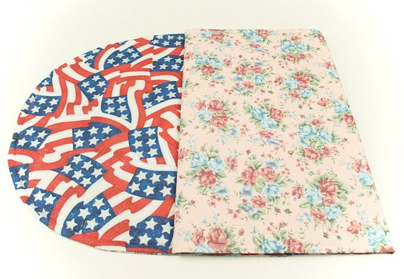 Flowers/Red, White and BlueTable Runner, Spring/Summer Table Decoration, Quilted, Reversible,42 in. x 17 in.