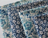 Vintage English and French Blue and White Cotton Fabrics - Napkin/Serviette Set of Four