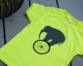 Circus Elephant on Bicycle Wheel Toddler/Youth T-Shirt NEON