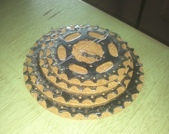 Bicycle Coasters Art, Bicycle Accessory, bicycle gear coasters, bicycle gift, bicycle wedding, cork coaster, graduation gift