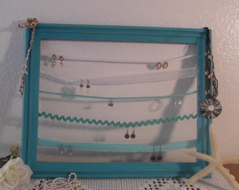 Earring Jewelry Organizer Rustic Frame Rack  Aqua Shabby Chic Beach Cottage French Country Farmhouse Home Decor Turquoise Birthday Gift