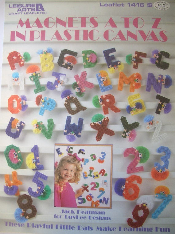 Plastic Canvas Magnets Alphabet A to Z Numbers Pattern Leaflet