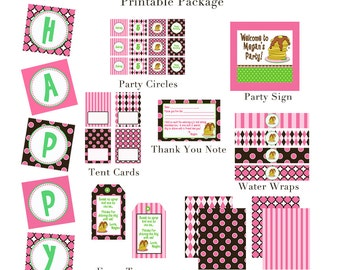 PANCAKES & PAJAMAS Birthday Party - Brown/Pink/Green - PRINTABLE Collection - Libby Lane Press