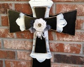 Home Decor Large Rustic Stacked Cross in Black and Ivory with Lace and a Burlap Rosette