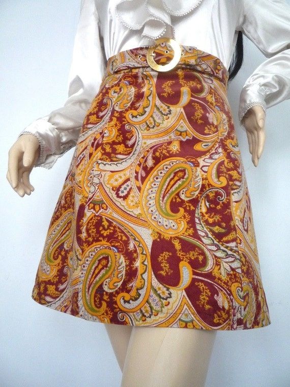60s Psychedelic Paisley corduroy Miniskirt Reproduction with round buckle detail