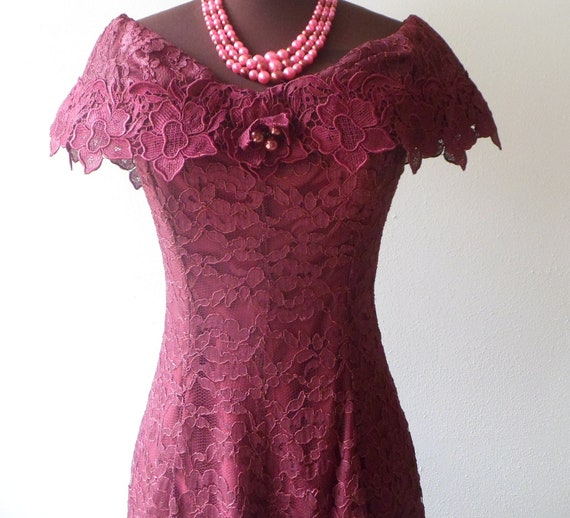 80s lace dress , burgundy red, off the shoulder sexy FREE SHIPPING