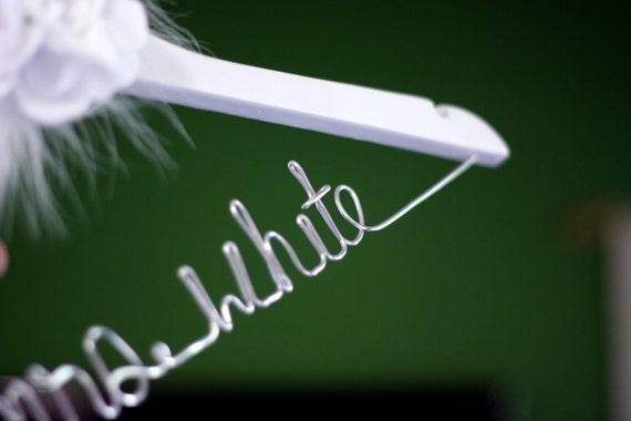 White Finish - Custom Bridal Hanger w/ Felt Flower, Personalized Bridal Dress Hanger, Wedding Hanger, Customized Hanger, Bride Hanger
