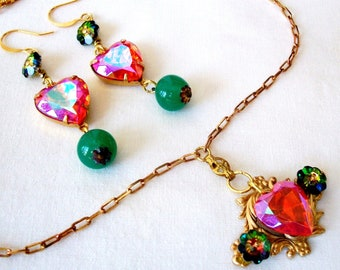 "Romantic Hyacinth AB SET, HANDMADE Necklace/Earrings, Orange & Green - ""Daybreak"" - Vintage Glass, Swarovski Crystal. Sale!"