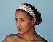 ELEGANT Off White Headband with Vintage Beads and Rhinestones Wedding Hair Piece