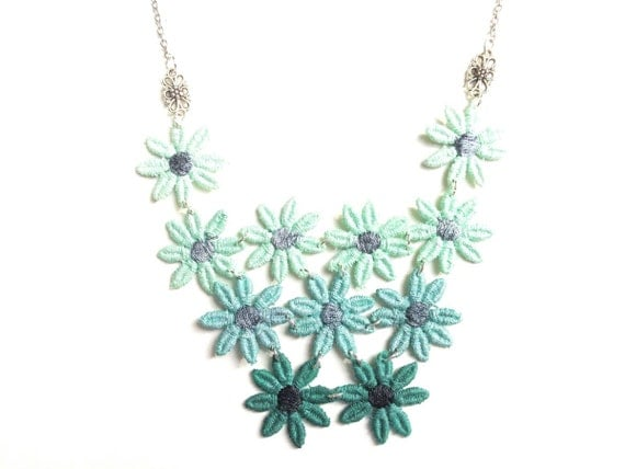 Lace Statement Necklace Mint Teal Green Ombre Flowers - Hand Painted Customizable Colors