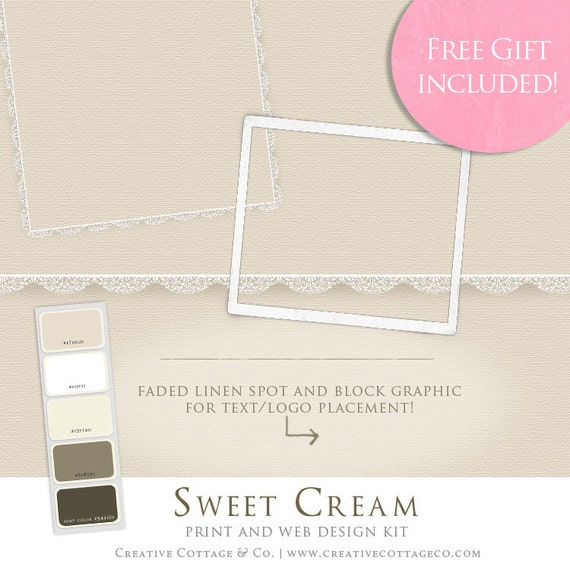 Marketing Design Kit- Sweet Cream Collection Vintage Linen and Lace Scrapbook