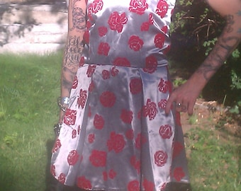 """One of a kind, """"Painting the roses red"""" dress."""
