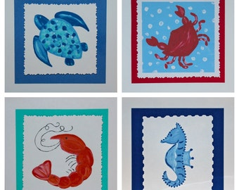 Set of Sea Creature Beach Note Cards