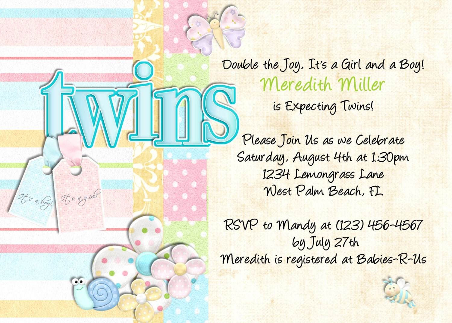 twins baby shower invitation gender neutral by 3peasprints