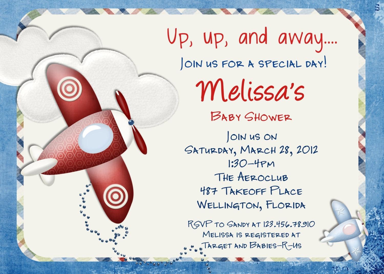 airplane baby shower invitation airplane invitation, Baby shower invitations