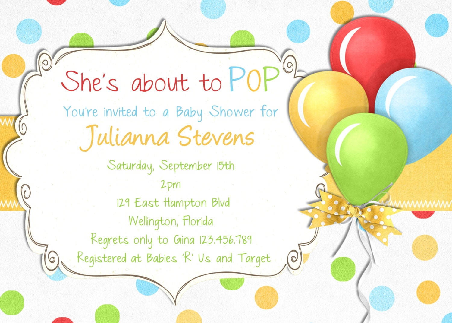 She's About to Pop Baby Shower Invitation Gender by 3PeasPrints