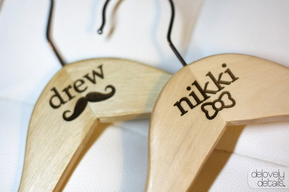 Customized/Personalized Bow and Mustache Standard Hanger set for Bride's wedding dress and Groom's Tux/Suit - Wooden