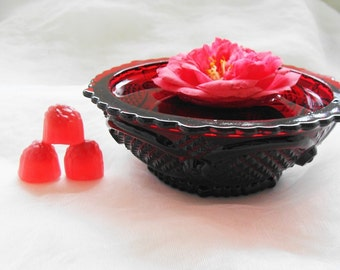Red Glass Bowl, Red Ruby Glass Dessert Dish, Avon, Cape Cod Deep Ruby Red Glass