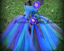 Peacock Tutu Dress, Peacock Flower Girl Tutu Dress, Peacock Theme Wedding, Flower Girl Tutu Dress, Flower Girl Dress
