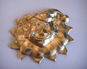 Clown Face Raw Brass Stamping Scrapbooking Mix Media Collage Altered Art Embellishments Jewelry Supplies (1pc)