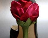 Custom Wedding Shoes -- Black Satin Peeptoes with Red Rose Satin Heel