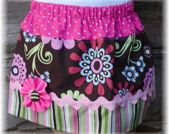 Girls Skirt Custom ...Royal Flower Garden..Available in 0-12mon,1/2,3/4,5/6,7/8, 9/10 Bigger Sizes Available