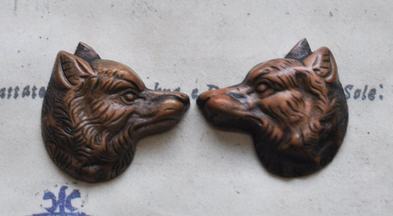 Left and right wolf stampings, Honey Patina- Calliopes Attic