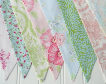 Shabby Chic Bunting Fabric Flags Banner Pennants - Girl's Birthday Party, Room Decor, Nursery, Wedding, Photo Prop - PINK BLUE GREEN