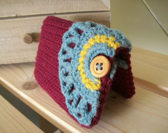 Crochet business card holder, credit card holder, crochet cozy, knit, carry, lace wallet,maroon, teal blue, mustard yellow, lace and button