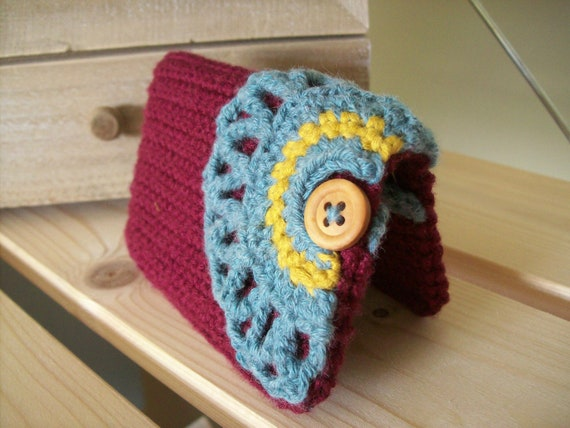 Crochet business card holder, credit card holder, maroon, teal blue, mustard yellow, lace and button