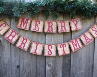 Burlap Christmas Banner,  Christmas Card Photo Prop, Primitive Christmas Decor, Country Christmas Decor, Christmas Mantle Decor