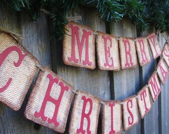 Primitive Christmas Home Decor, Burlap Christmas Decorations, Country Christmas Decor, Christmas Card Photo Prop, Christmas Mantle Decor
