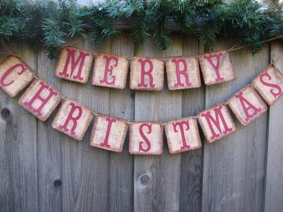 Burlap Christmas Banner,  Christmas Card Photo Prop, Primitive Christmas Decor, Country Christmas Decor, Christmas Mantle Decor