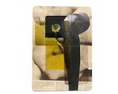 original ACEO, avant garde, collage, mini art, dadaism, conceptual art, chartreuse