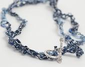Ladder Ribbon Necklace - Blue Hues