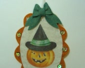 Halloween Pumpkin Vintage Inspired Tag Wool Felt Sequins Beads Handmade
