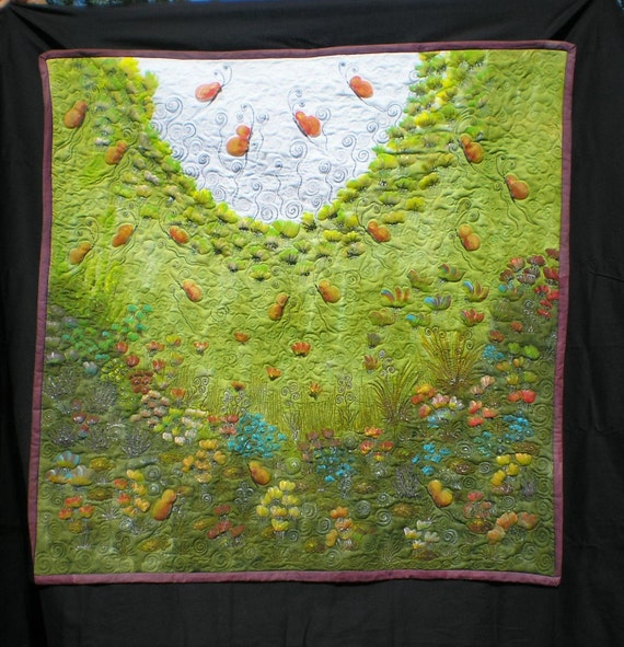 Wall art quilt- hand dyed and hand painted quilted  flowery field with lavenders and butterfly olive wall hanging