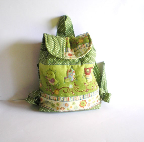 Kid backpack Toddler backpack  Handmade quilted  patchwork backpack with owl butterfly in kiwi, olive