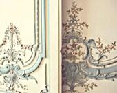 Paris Blue Rococo, Marie Antoinette - 8x10 Art Photo Print - Detail, Floral, Scalloped, Versailles, France - Mint Blue, White Neutral Decor