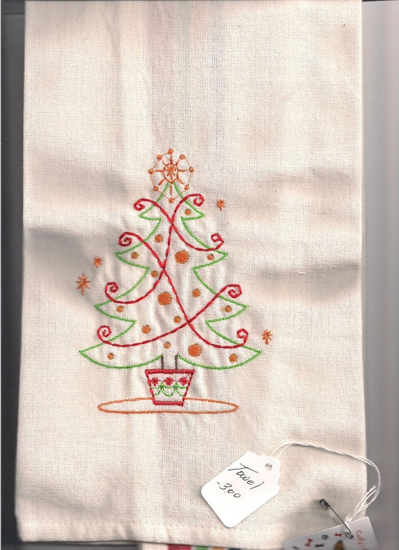 New Aunt Martha Linen Tea Towel With Christmas Tree