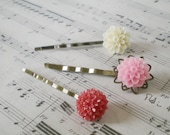 flower hair pins, vintage style, antique brass, bobby pins, red, pink, ivory, hair accessories, prom night, wedding