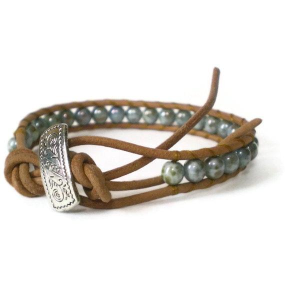 boho beaded wrap bracelet, grey glass beads, shabby chic, natural leather, single cuff, unisex