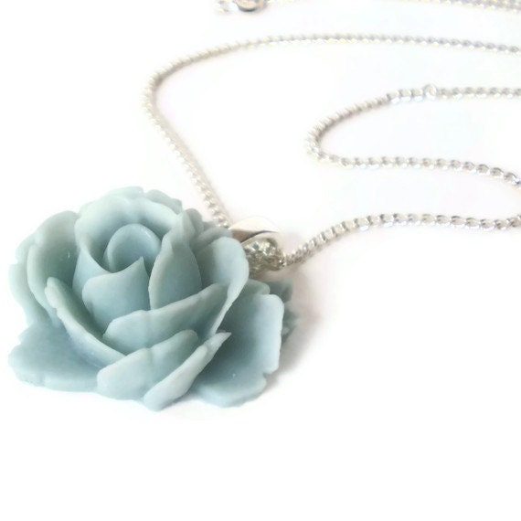 blue flower pendant necklace, resin rose, vintage style, silver chain, boho chic jewelry