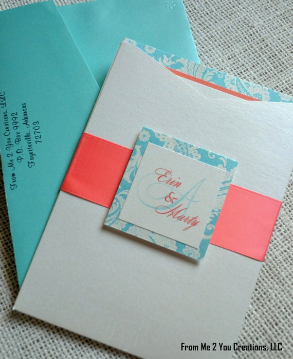 Beach Wedding Invitation--Metallic Teal, Coral, and Cream Damask/Paisley Tri-Layered Invitation w/ Pocket, Monogram Tab, Ribbon, and inserts