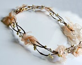 Flower Crown , wedding wire vine crown , Peach rustic bridal wreath , vine crown , bridal flower crown , whimsical wedding , woodland